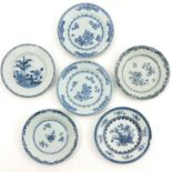 A Lot of 6 Blue and White Plates