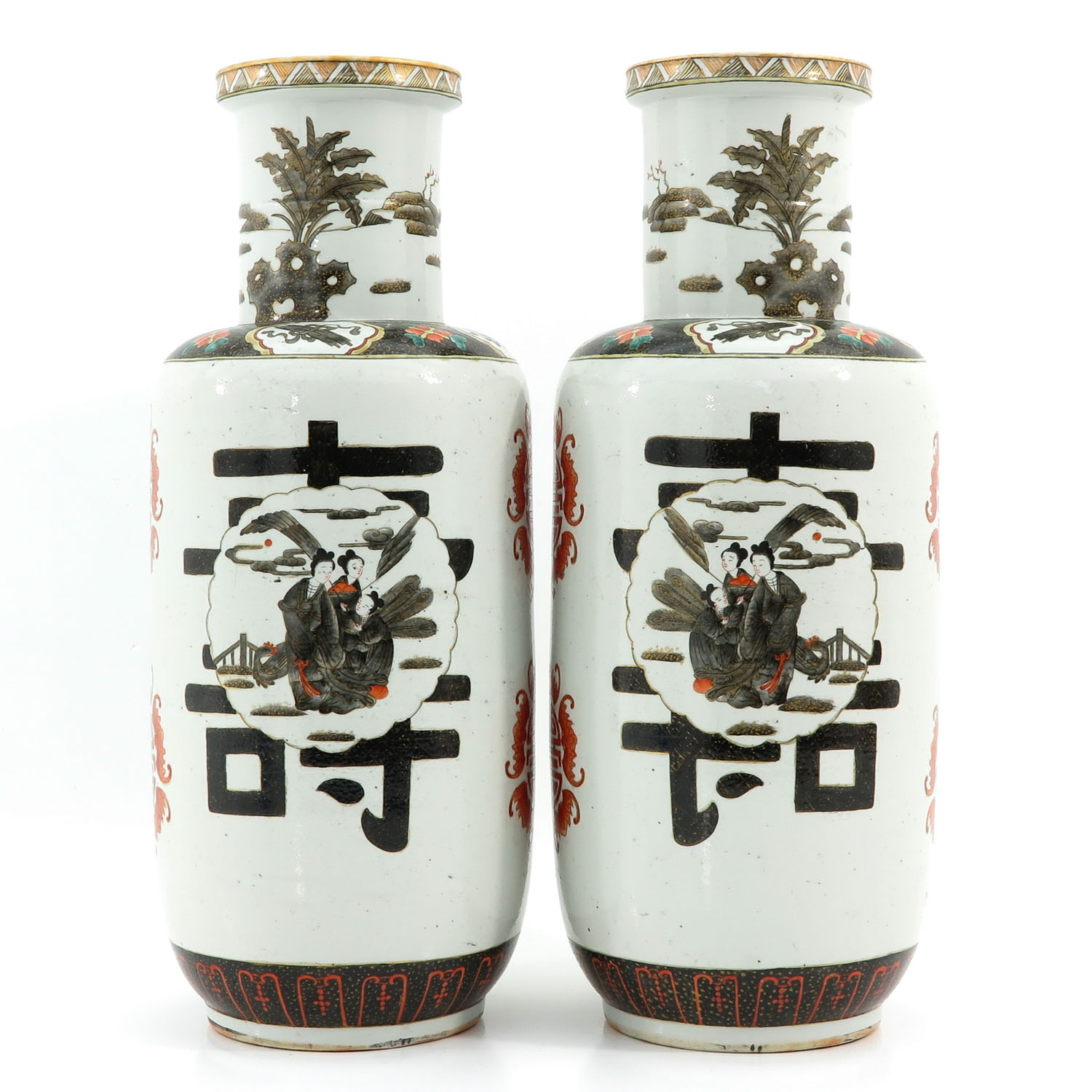 A Pair of Polychrome Decor Vases - Image 3 of 10