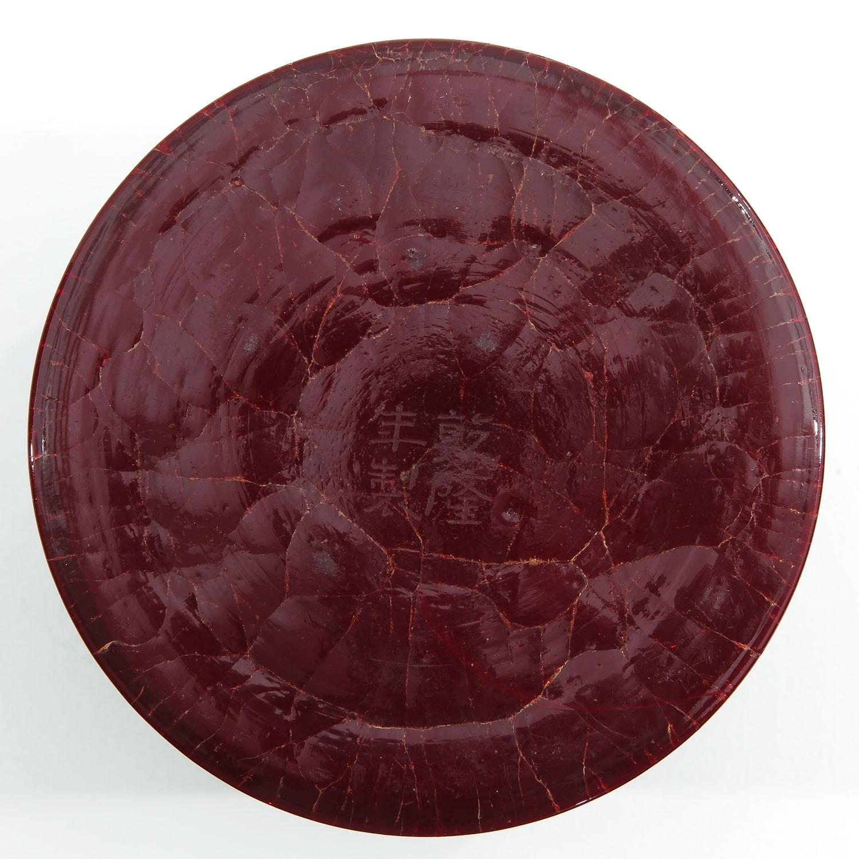 A Red Peking Glass Brushpot - Image 6 of 9