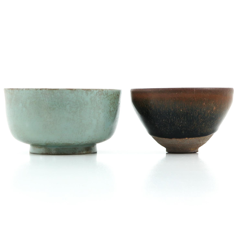 A Hare Fur Tea Bowl and Celandon Bowl - Image 2 of 10