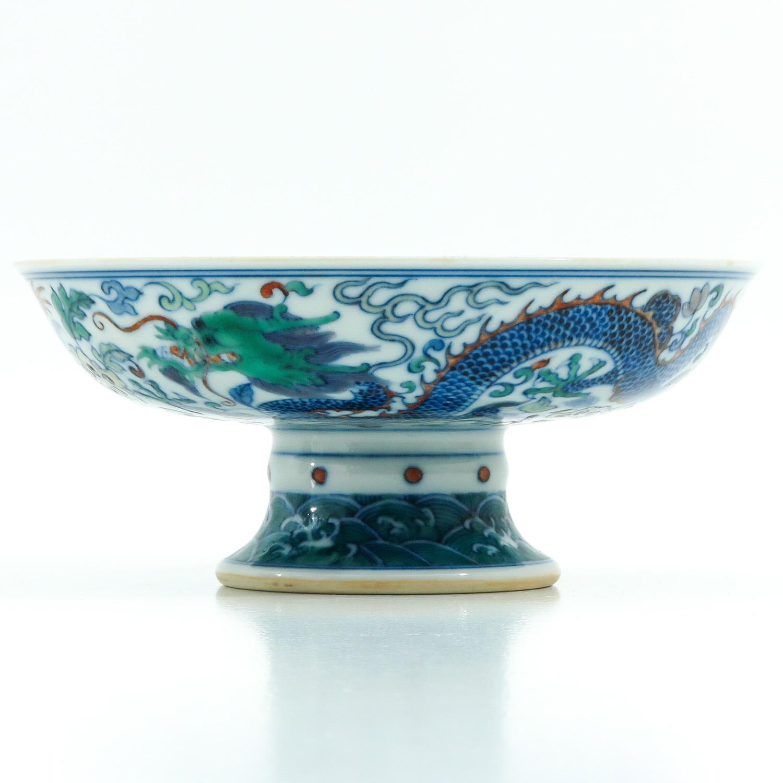 A Doucai Decor Stem Bowl - Image 3 of 10