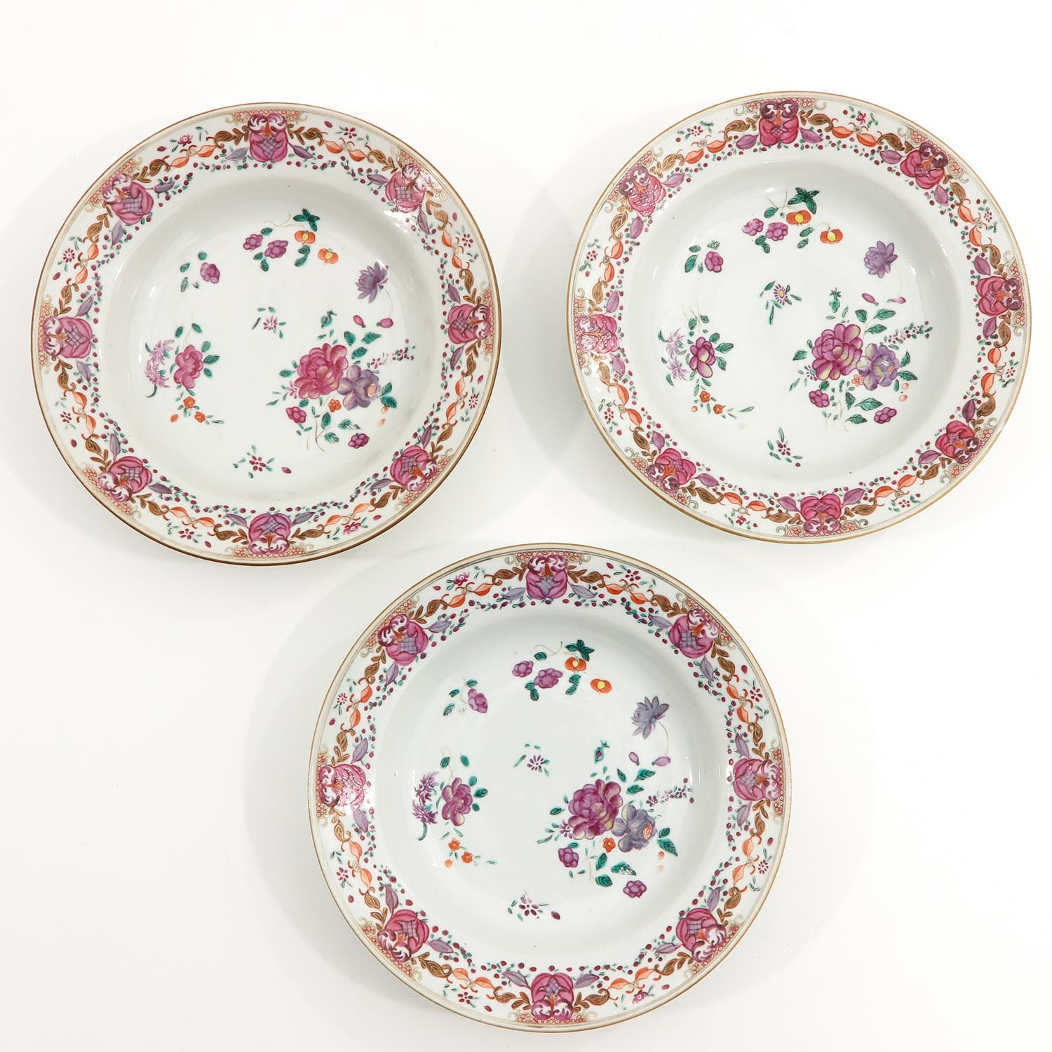 A Series of 3 Famille Rose Plates