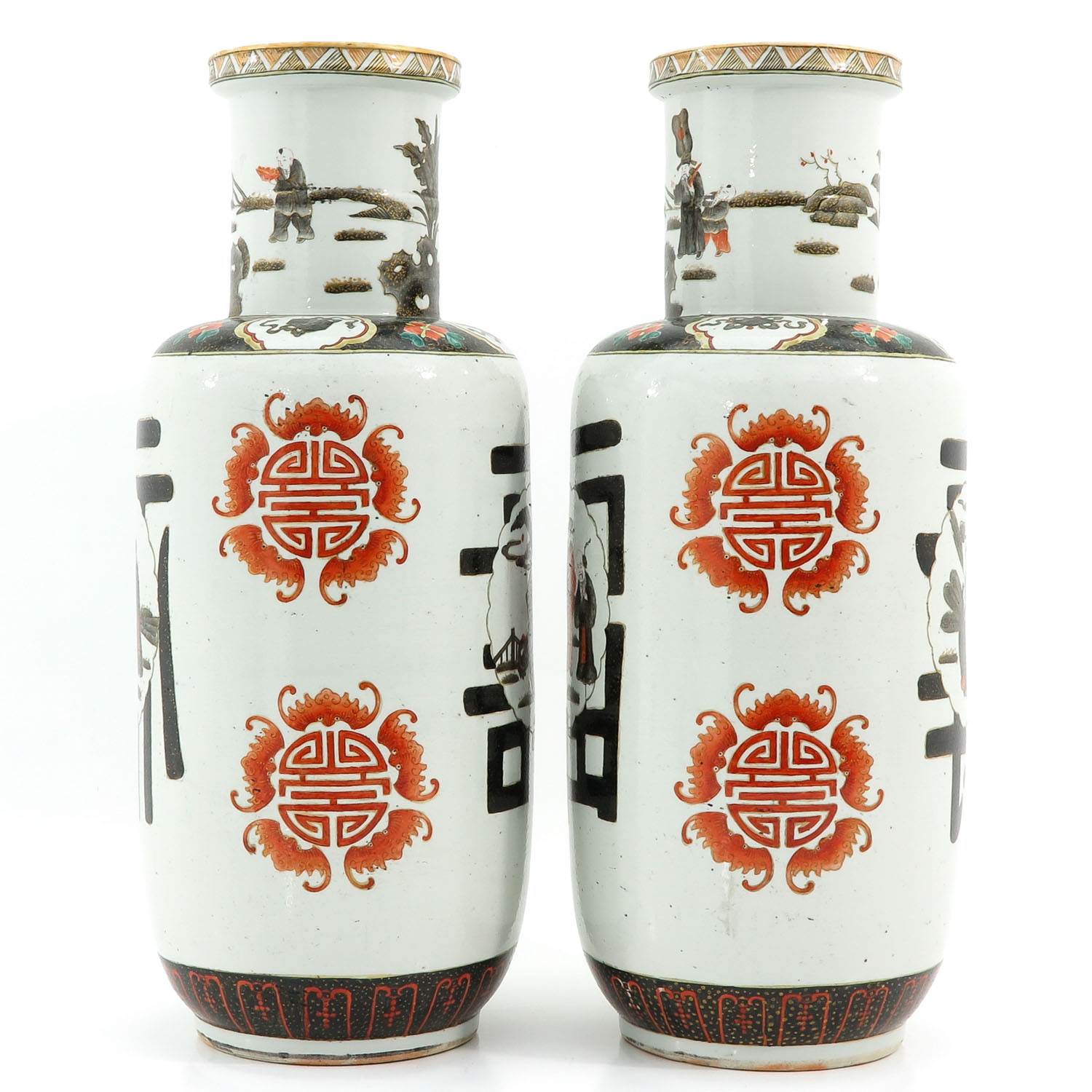 A Pair of Polychrome Decor Vases - Image 2 of 10
