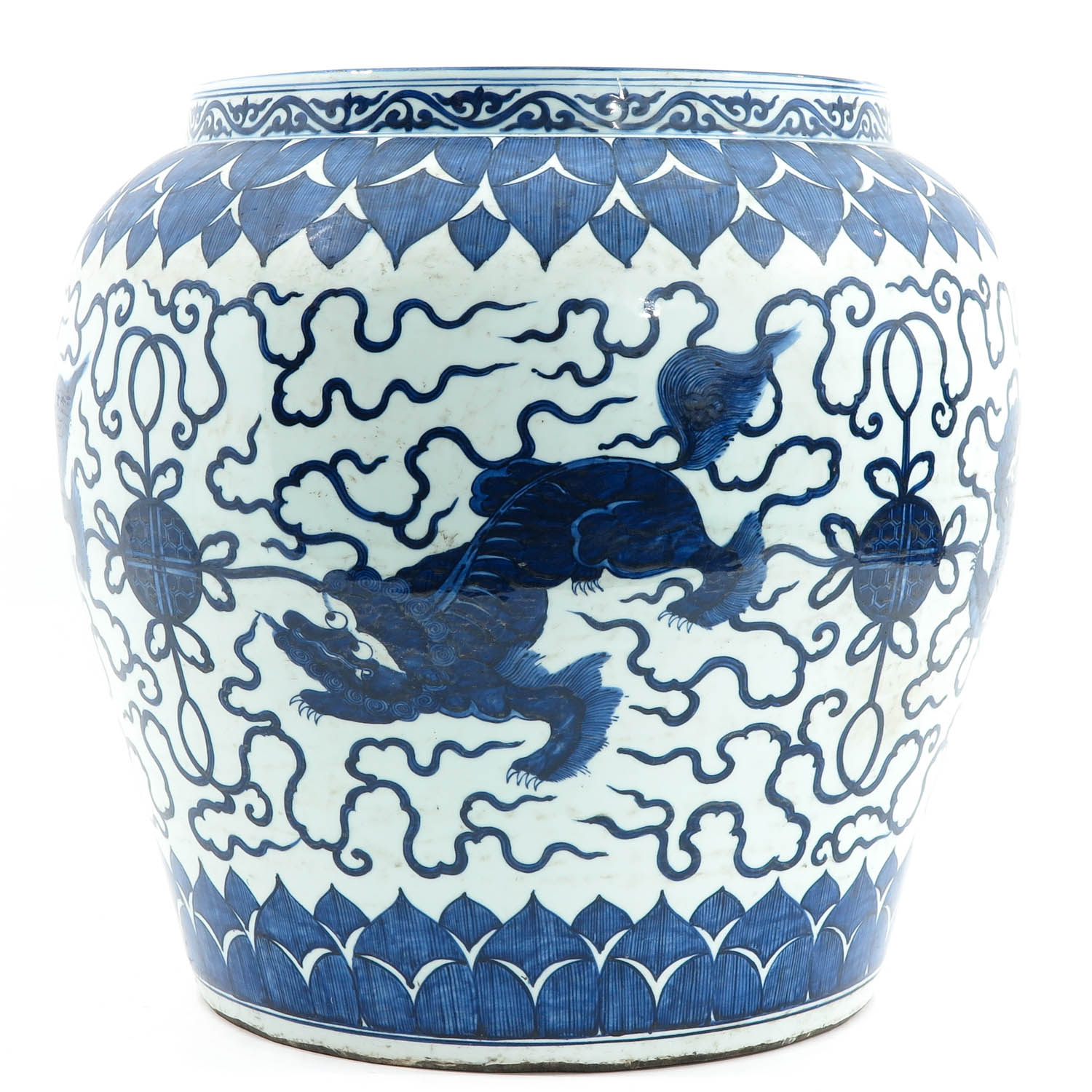 A Large Blue and White Planter - Image 2 of 10