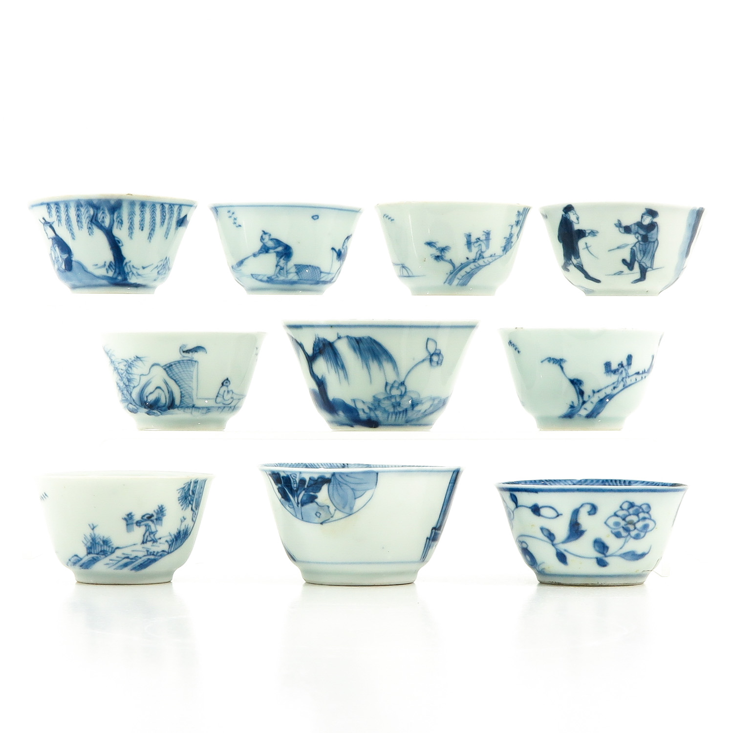 A Collection of 10 Blue and White Cups - Image 3 of 10