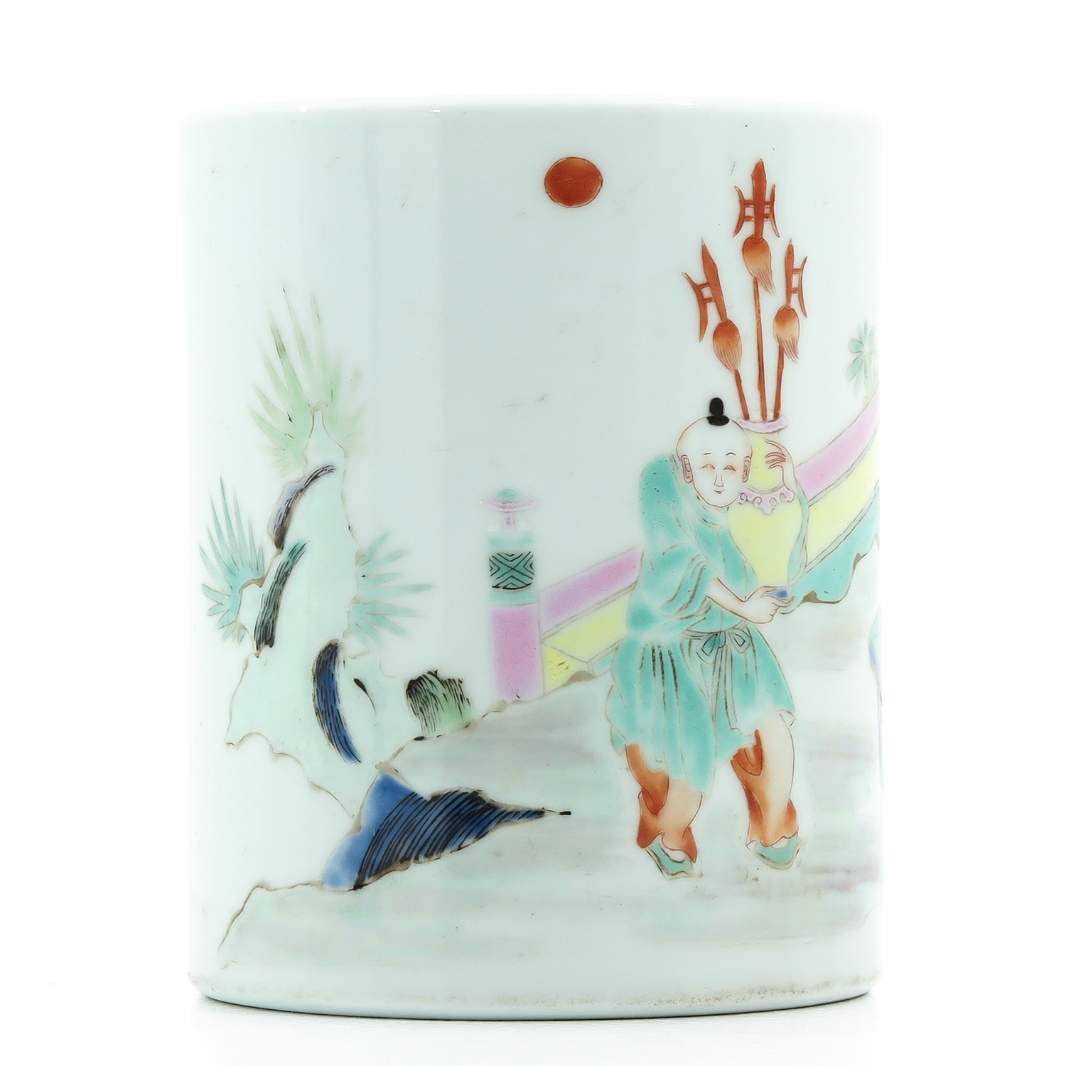 A Famille Rose Brush Pot - Image 4 of 9