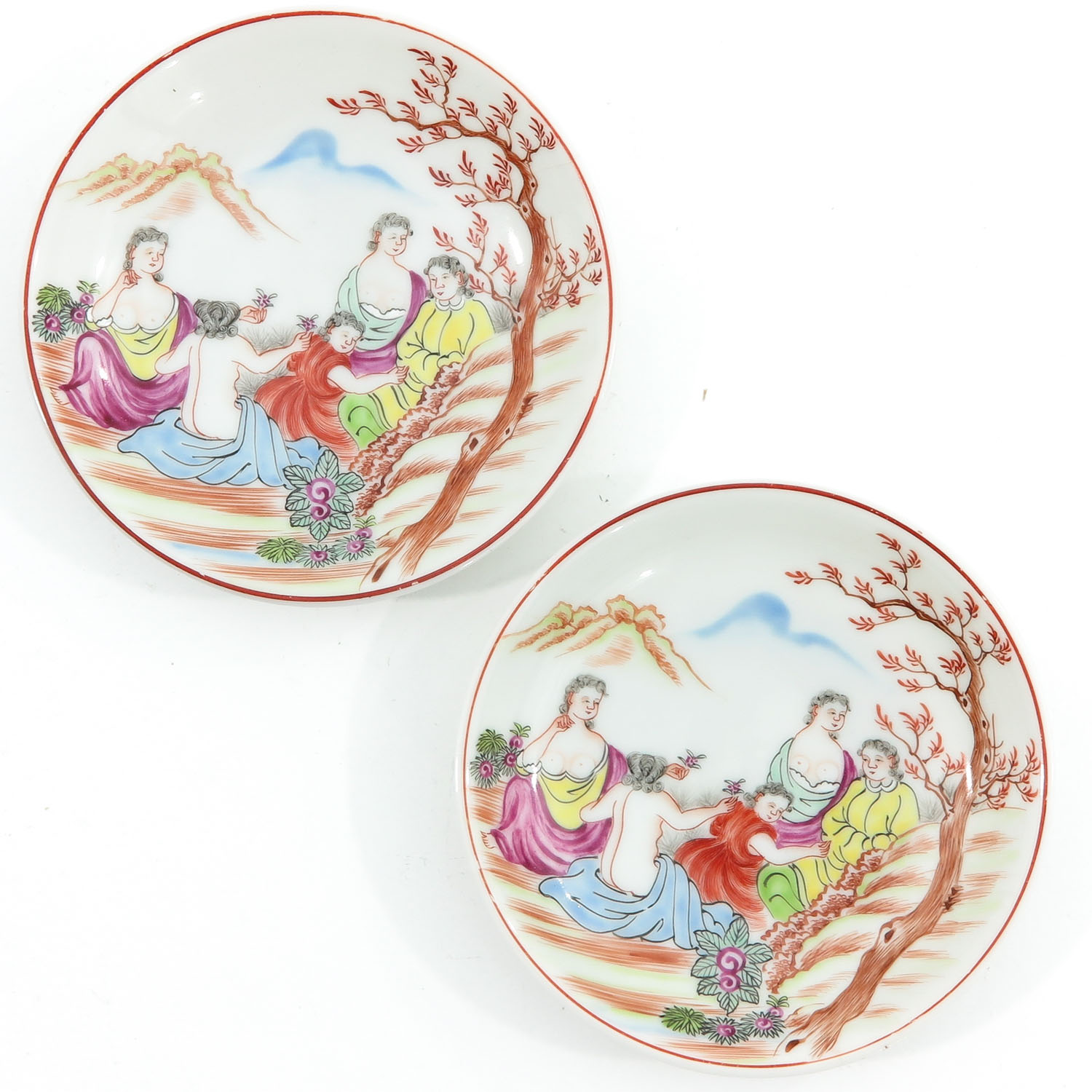 A Pair of Chine de Commande Small Plates
