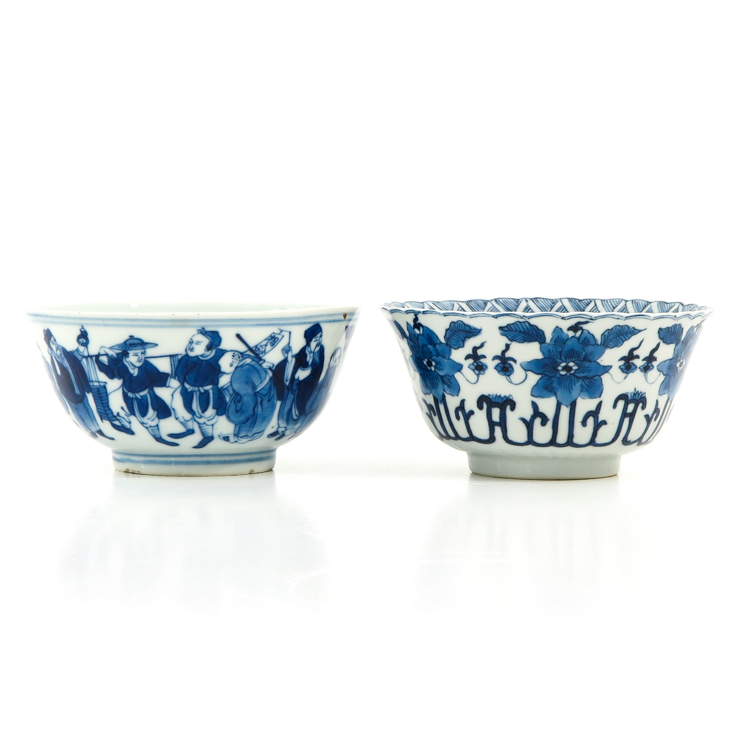 A Lot of 2 Blue and White Bowls