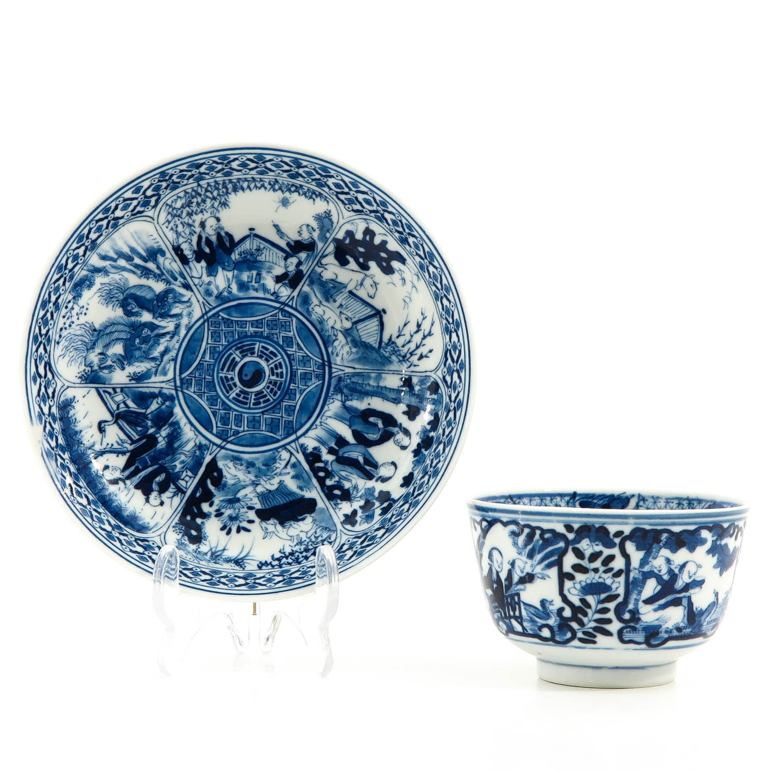 A Blue and White Cup and Saucer - Image 4 of 9