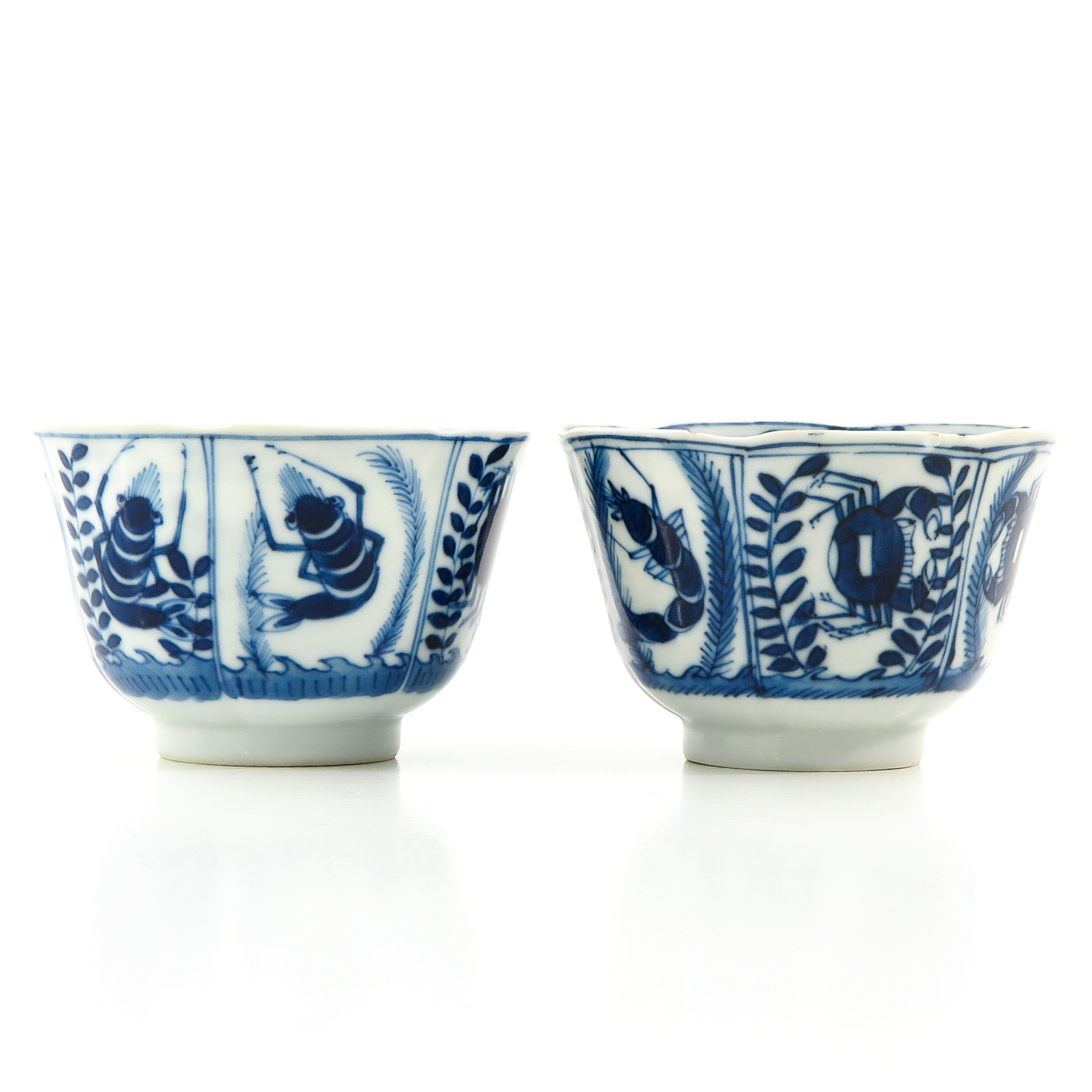 A Pair of Blue and White Cups and Saucers - Image 3 of 9