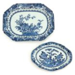 A Lot of 2 Blue and White Serving Trays