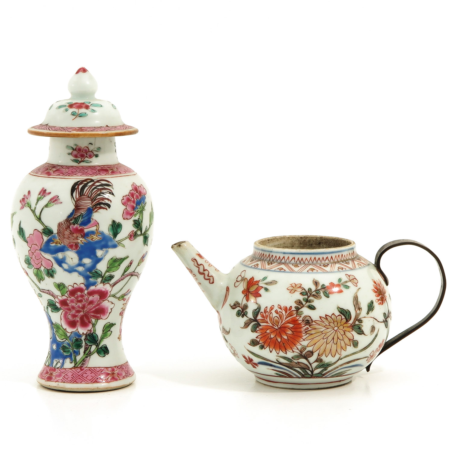A Famille Rose Vase and Teapot
