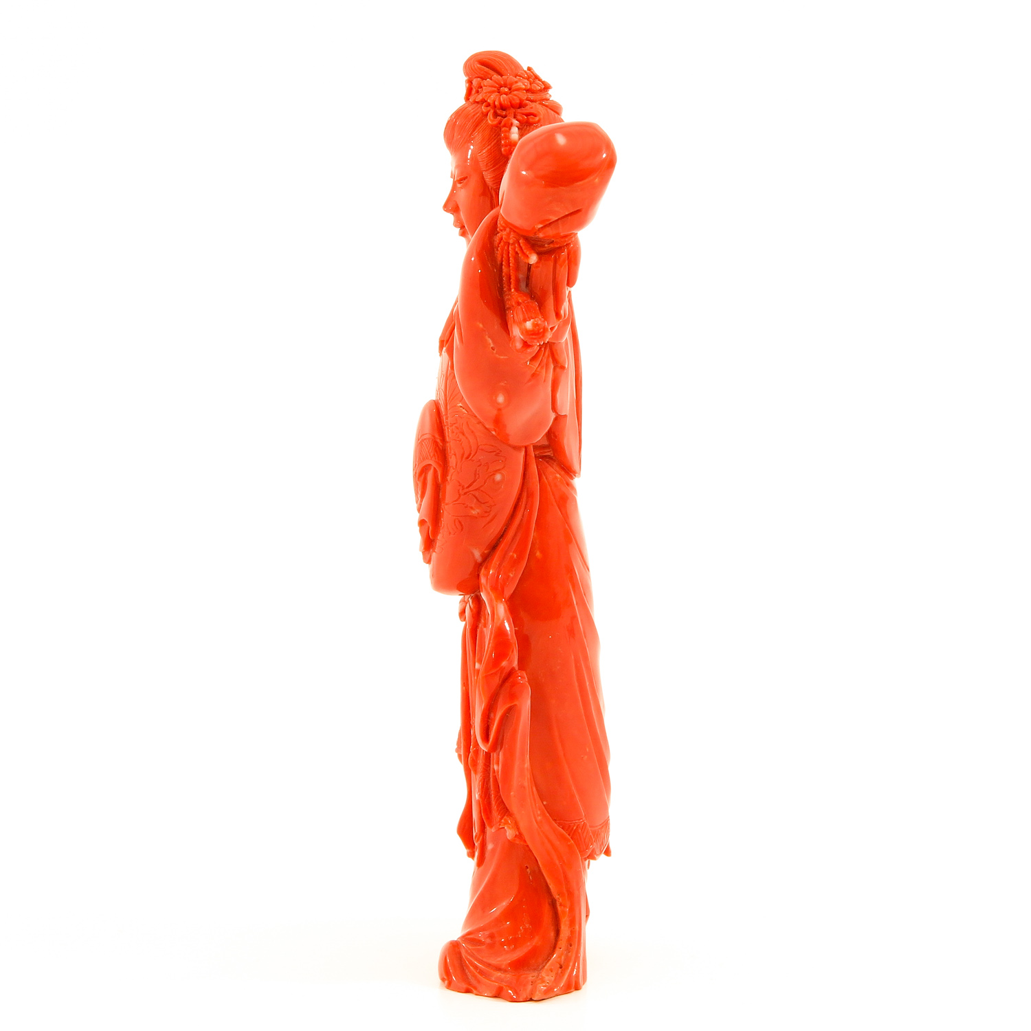 A Carved Red Coral Sculpture - Image 2 of 8