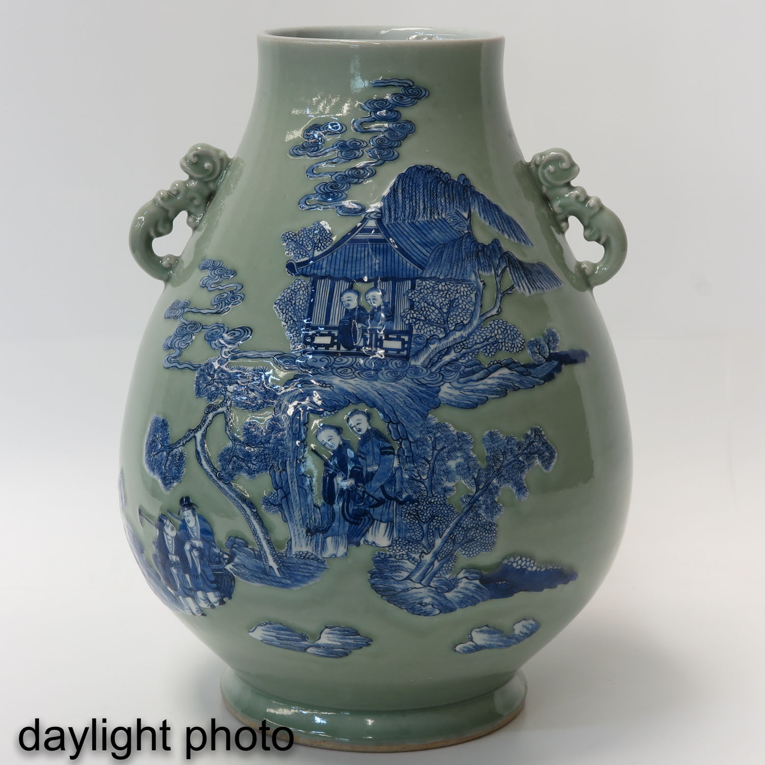 A Pair of Celadon and Blue Hu Vases - Image 7 of 10