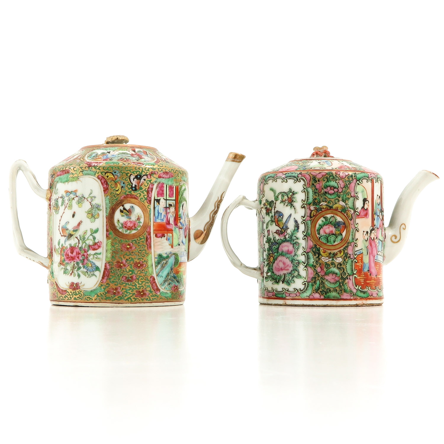 A Lot of 2 Cantonese Teapots - Image 3 of 9