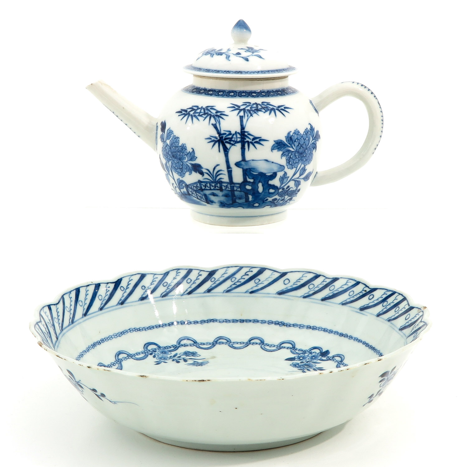 A Blue and White Bowl and Teapot