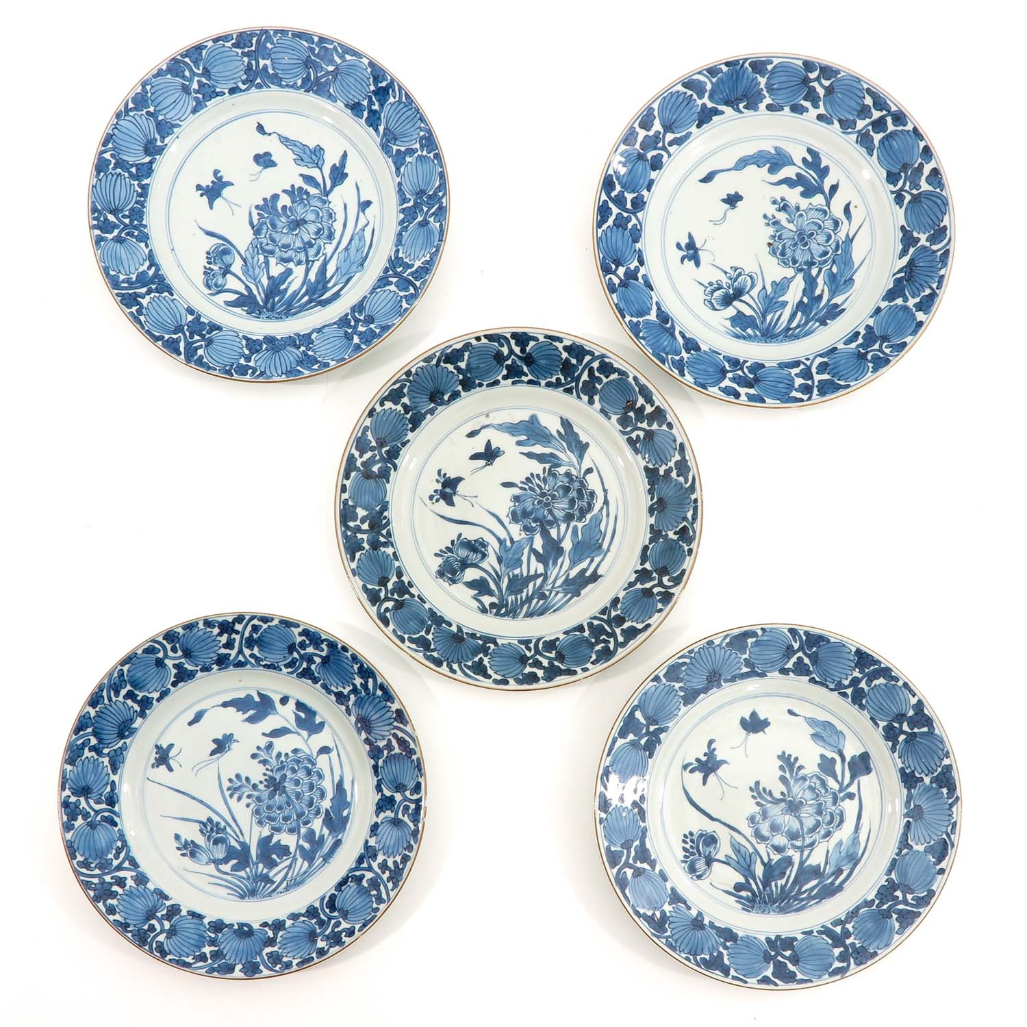 A Series of 5 Blue and White Plates