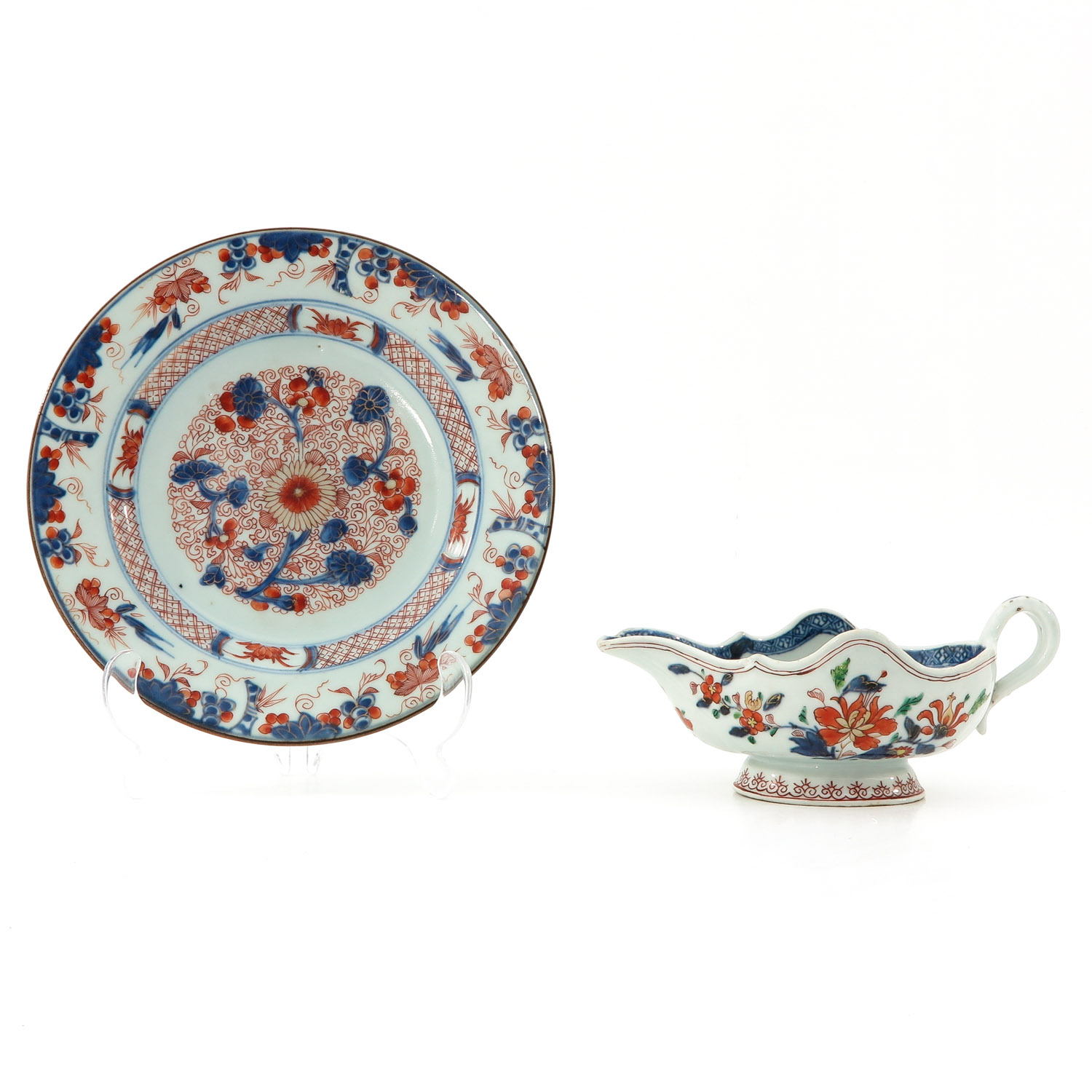 An Imari Plate and Gravy Boat