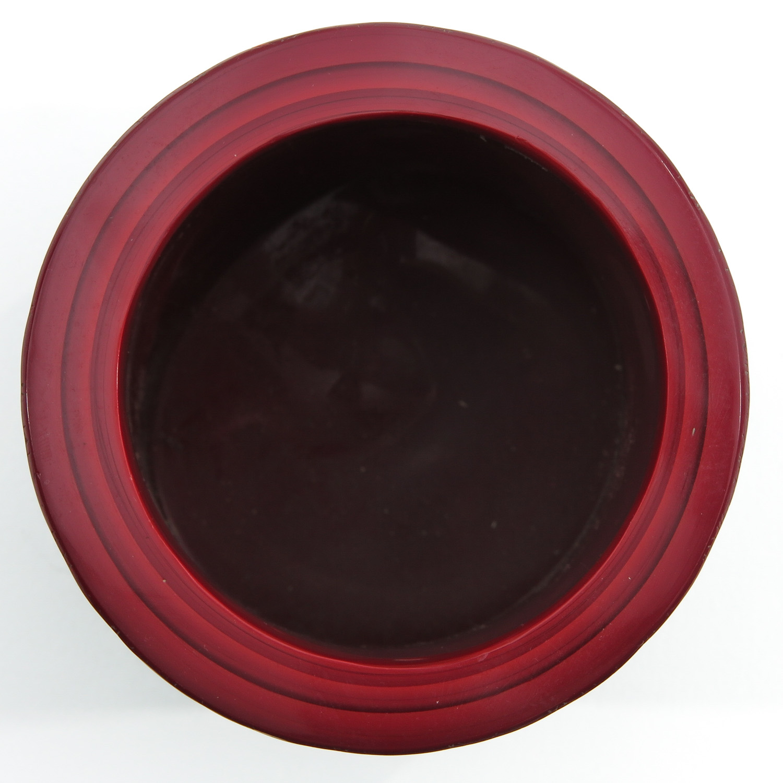 A Red Peking Glass Brushpot - Image 5 of 9