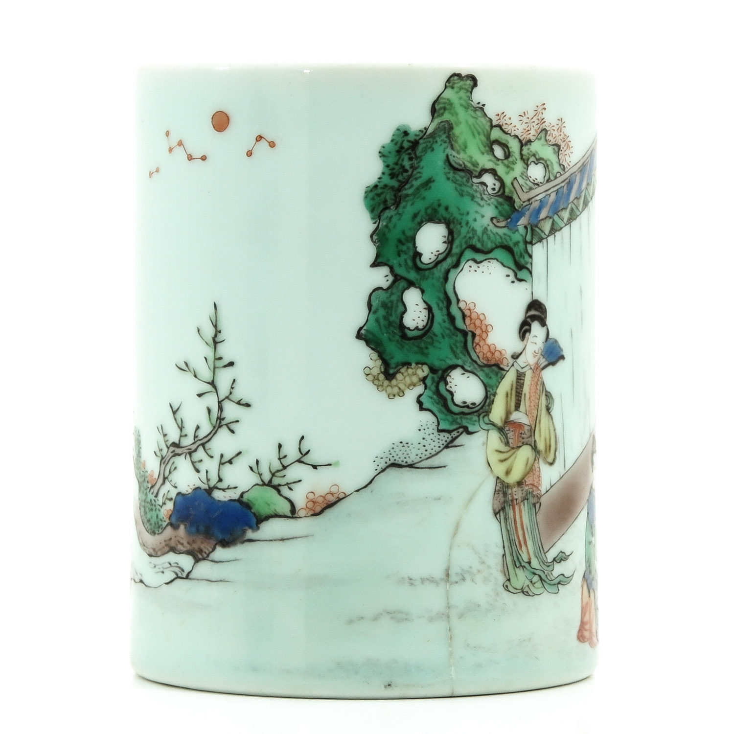 A Famille Verte Brush Pot - Image 4 of 9