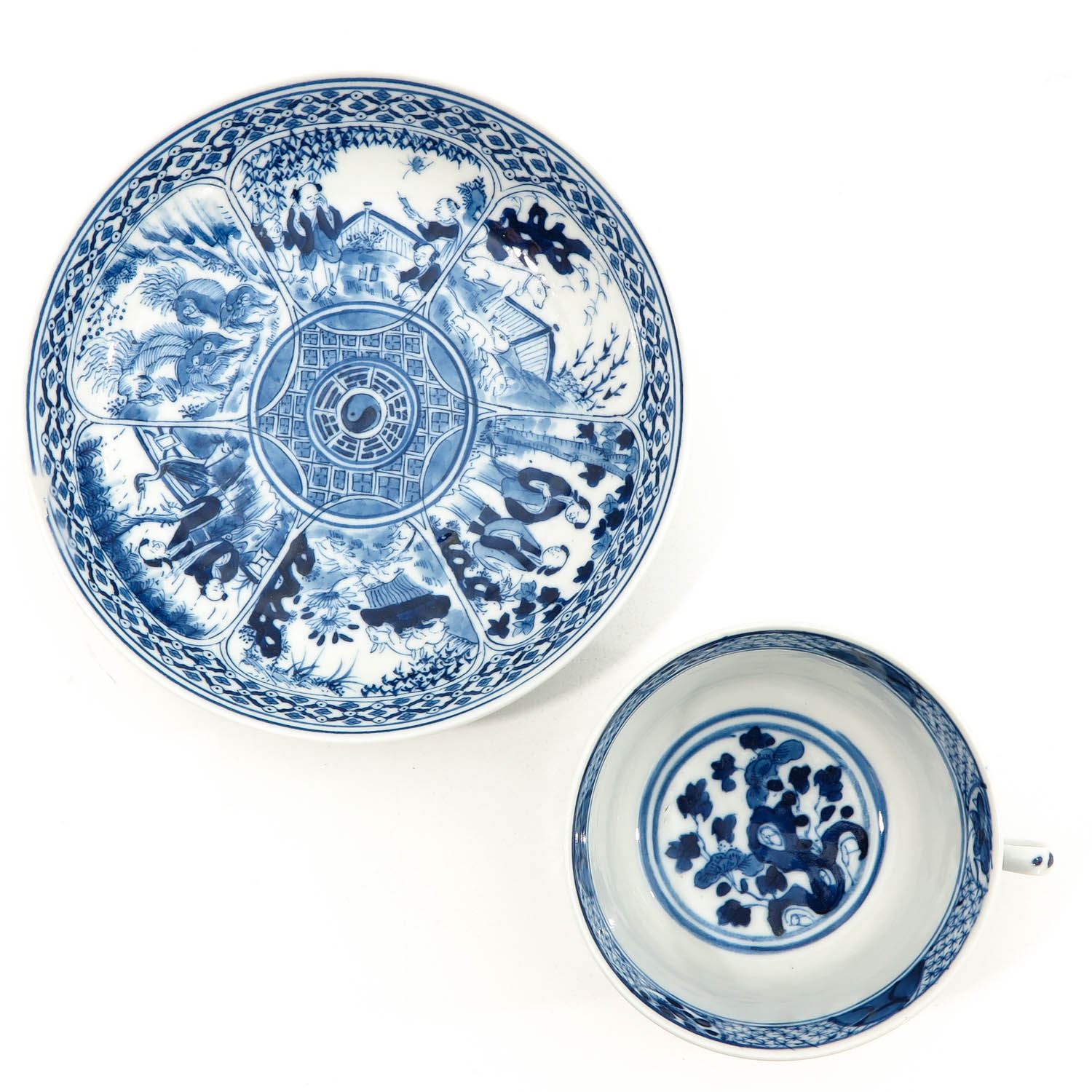 A Blue and White Cup and Saucer - Image 5 of 9