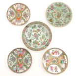 A Collection of 5 Cantonese Plates