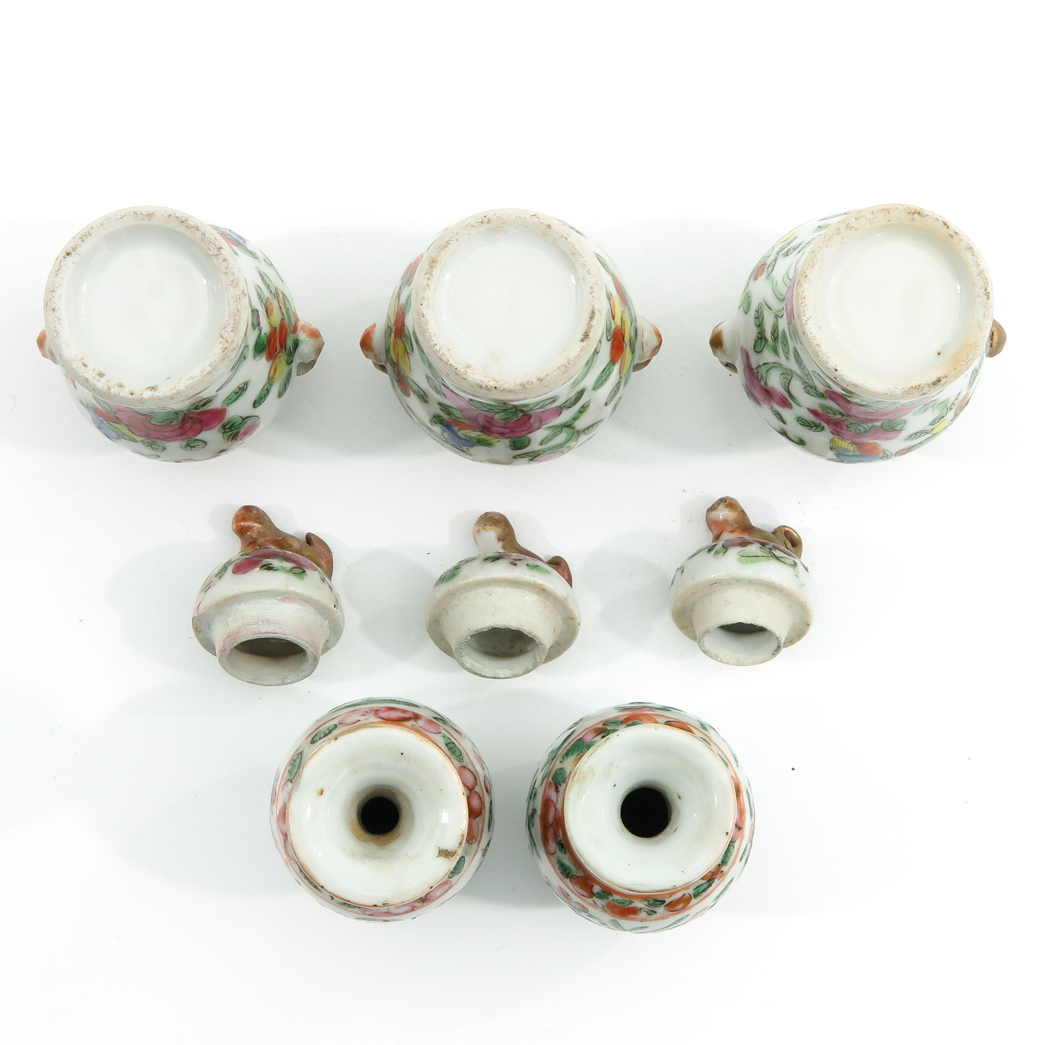 A Cantonese Miniature Garniture Set - Image 6 of 9