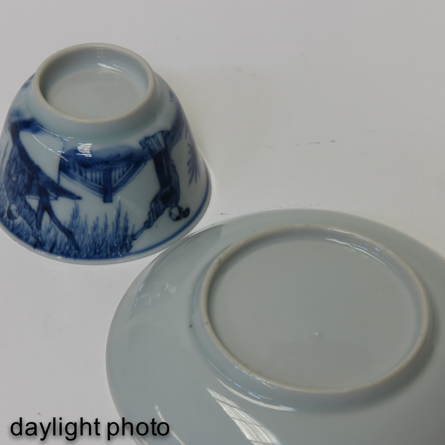 A Blue and White Cup and Saucer - Image 8 of 10