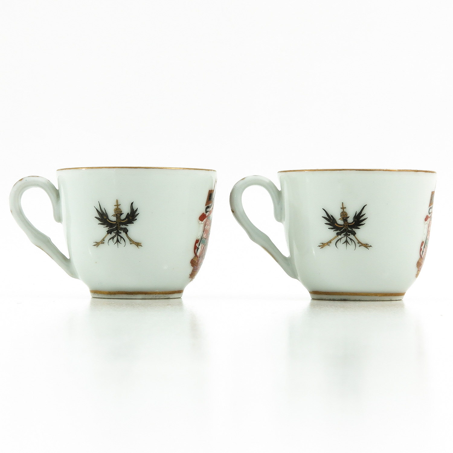 A Pair of Polychrome Decor Cups - Image 3 of 9