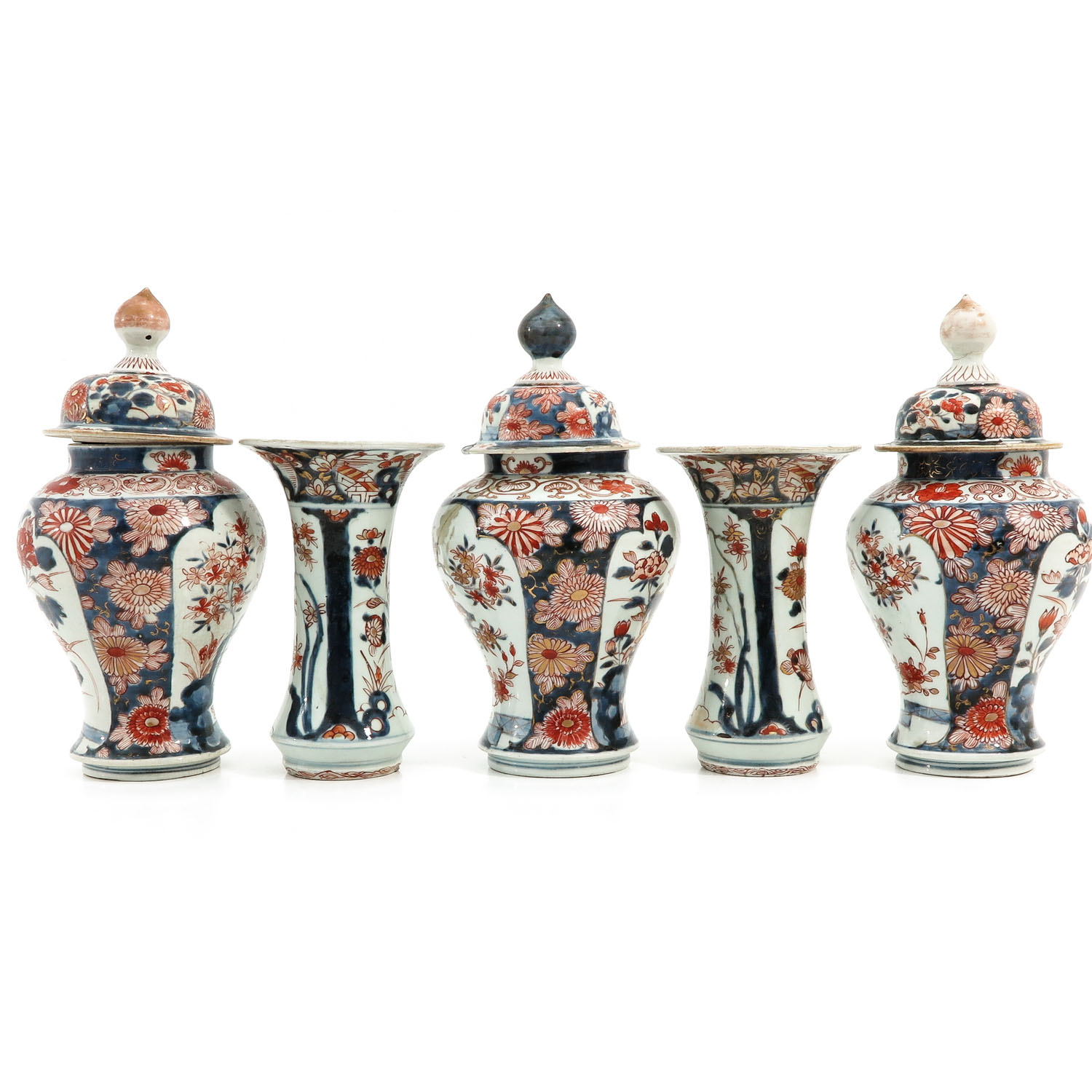 A 5 Piece Imari Garniture Set - Image 4 of 9
