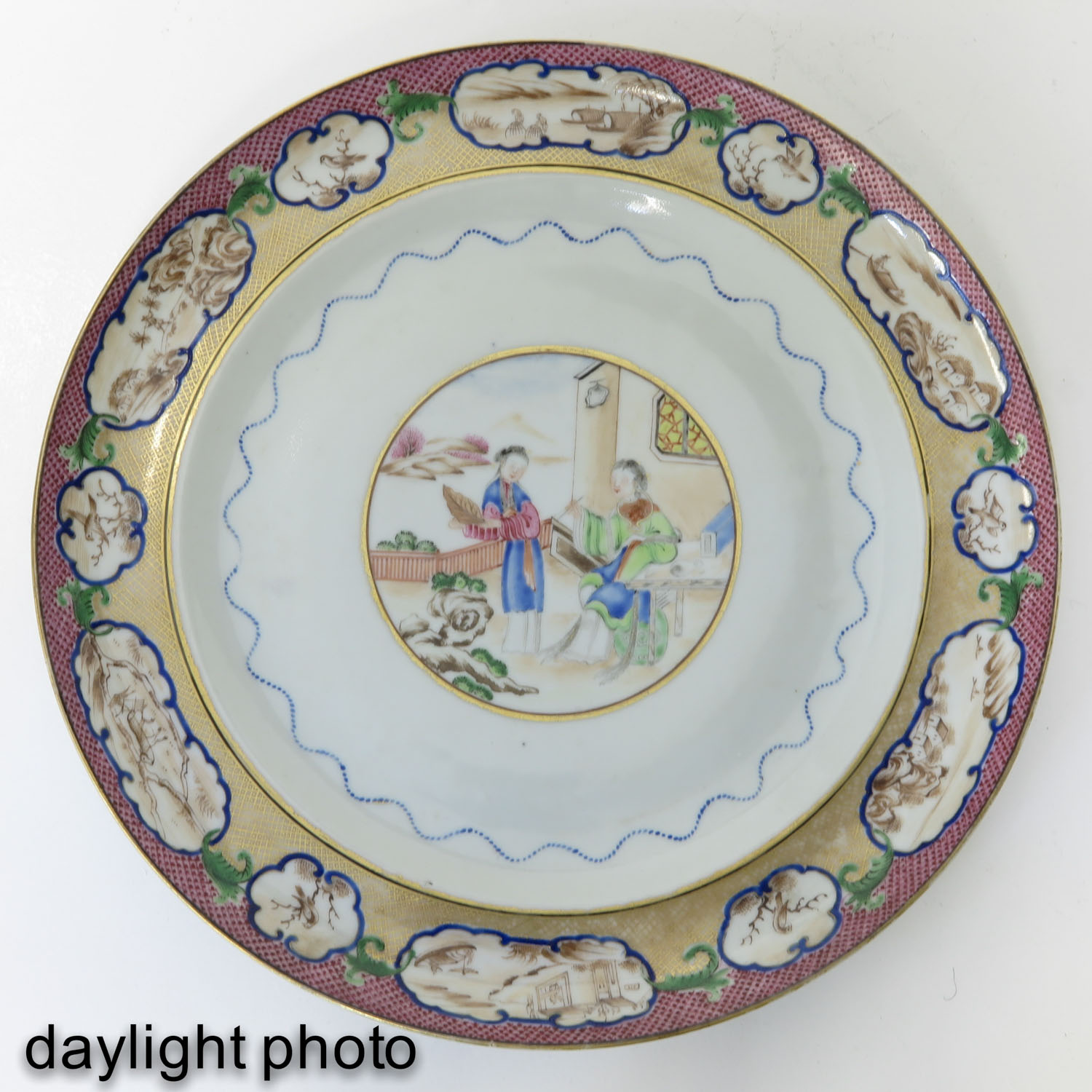 A Pair of Polychrome Decor Plates - Image 7 of 9