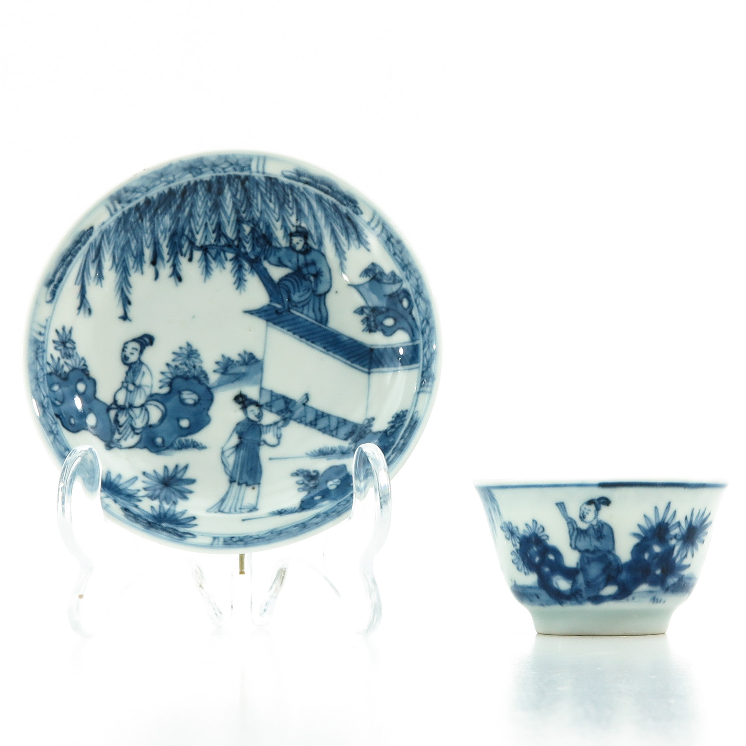 A Blue and White Cup and Saucer - Image 3 of 10