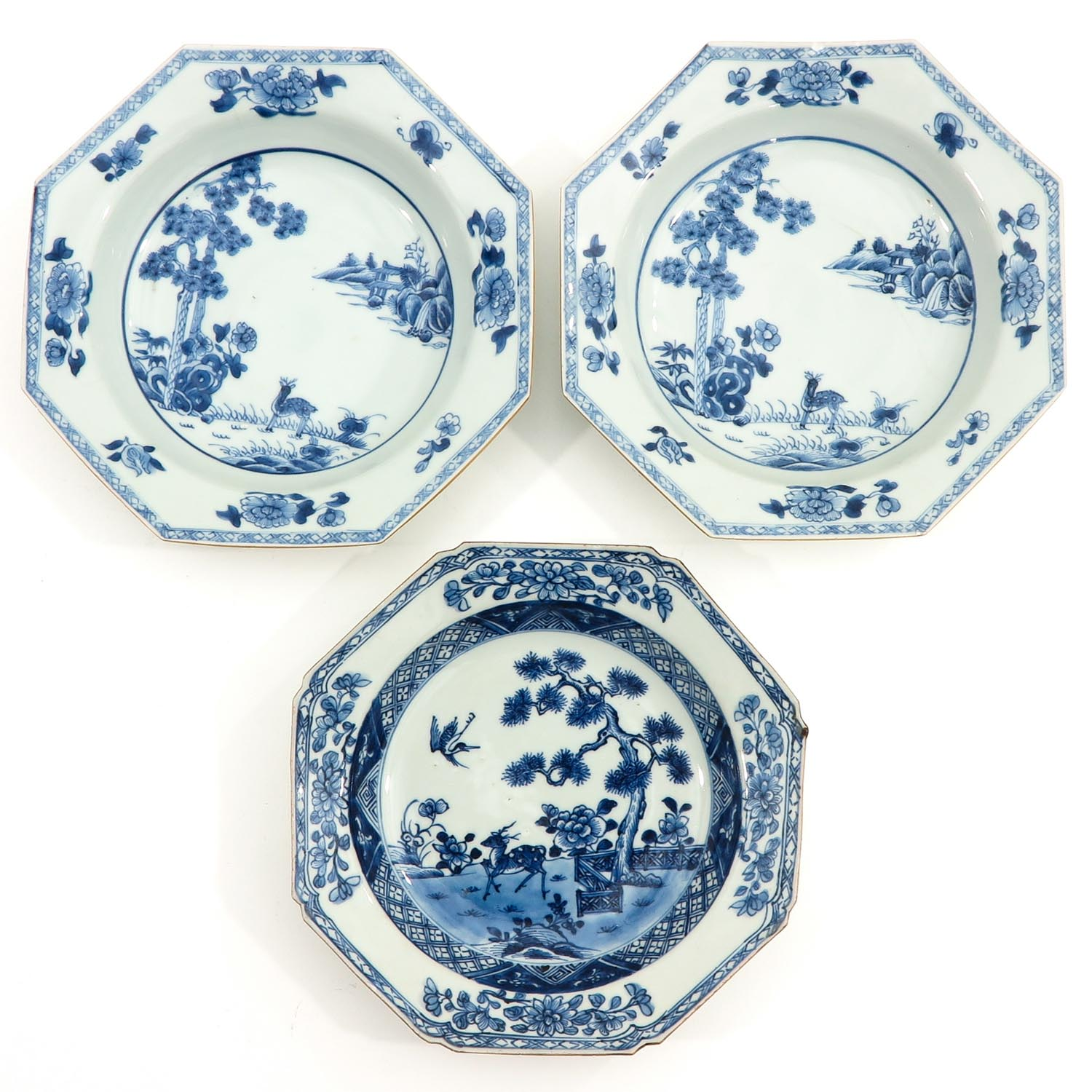 A Series of 3 Blue and White Plates