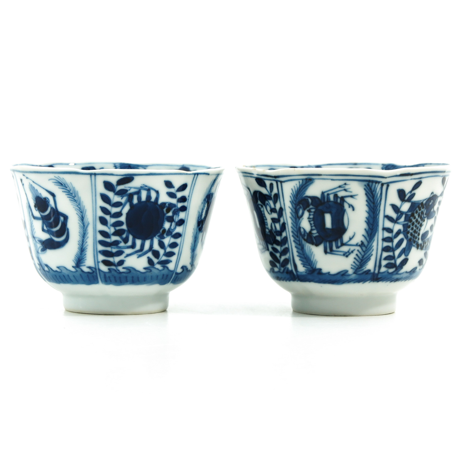 A Pair of Blue and White Cups and Saucers - Image 4 of 9