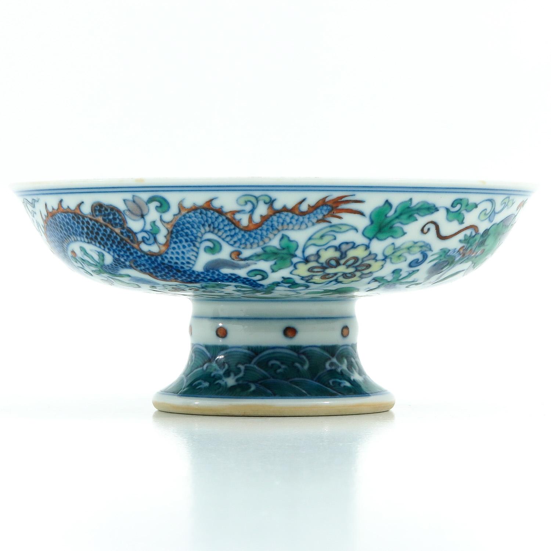 A Doucai Decor Stem Bowl - Image 4 of 10