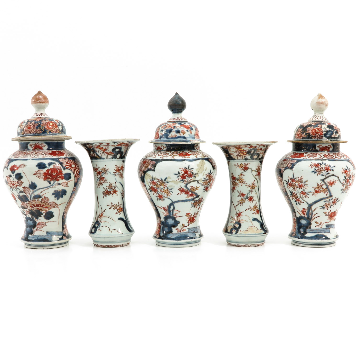 A 5 Piece Imari Garniture Set - Image 3 of 9