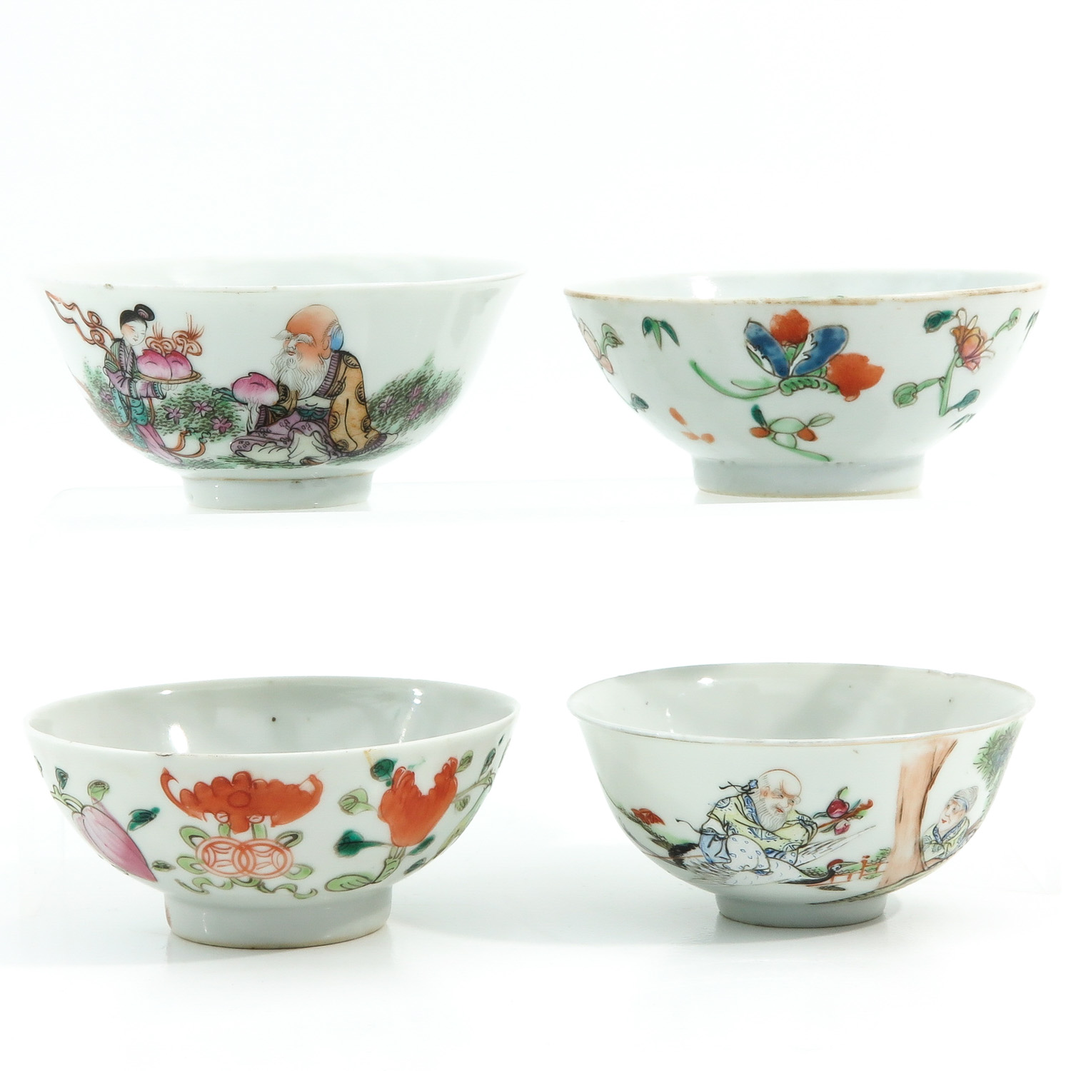 A Collection of 4 Polychrome Bowls