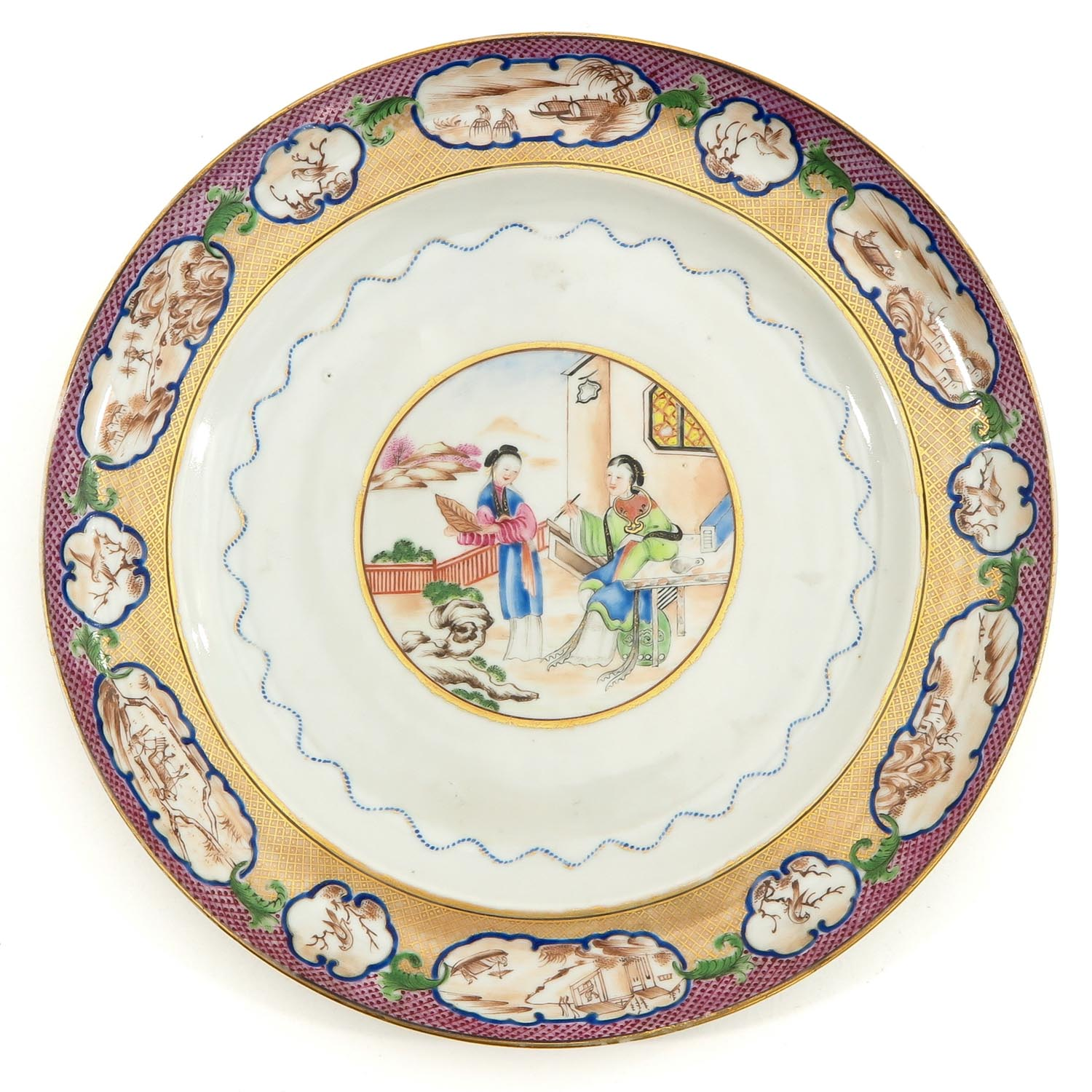 A Pair of Polychrome Decor Plates - Image 5 of 9