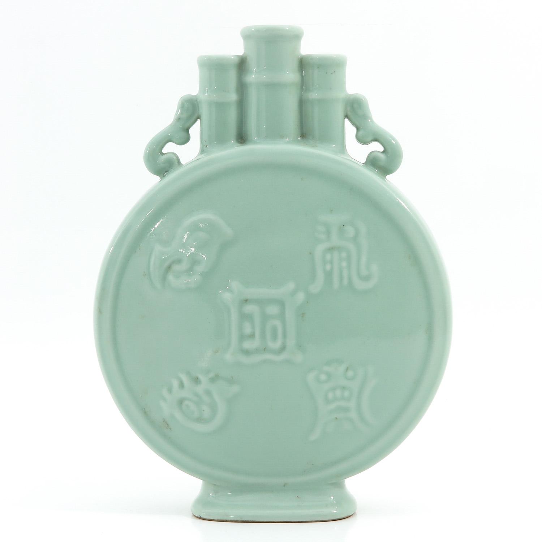 A Celadon Moon Bottle Vase - Image 3 of 10