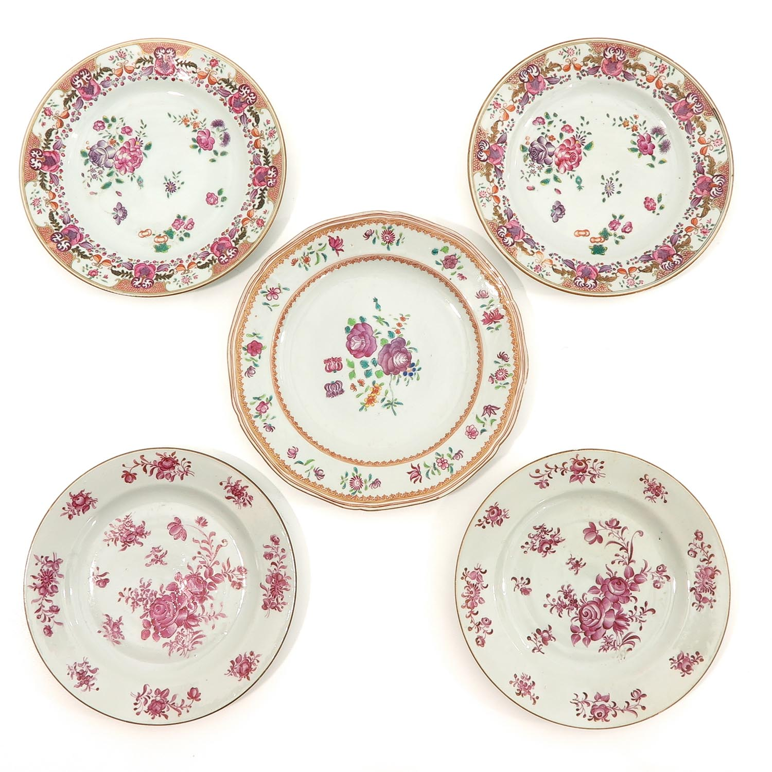 A Collection of 5 Famille Rose Plates