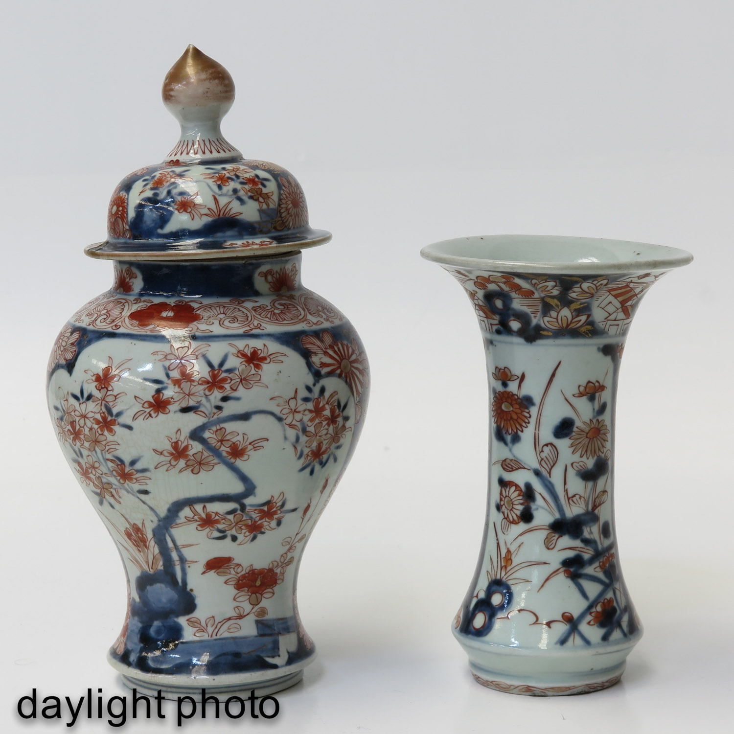 A 5 Piece Imari Garniture Set - Image 7 of 9
