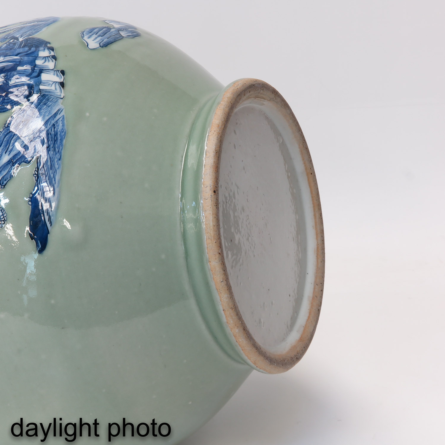A Pair of Celadon and Blue Hu Vases - Image 8 of 10