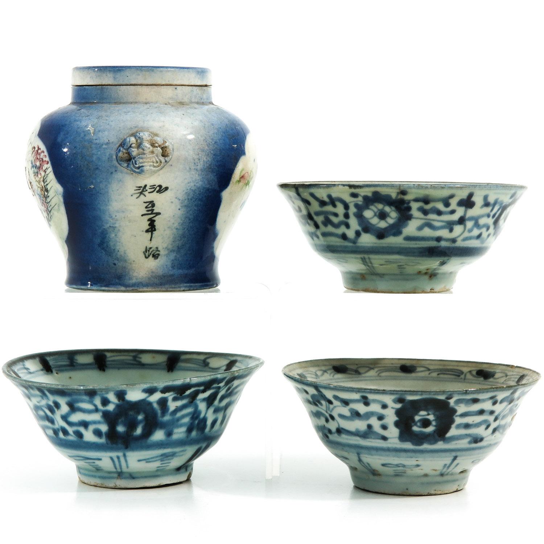 A Ginger Jar and 3 Bowls - Image 2 of 9