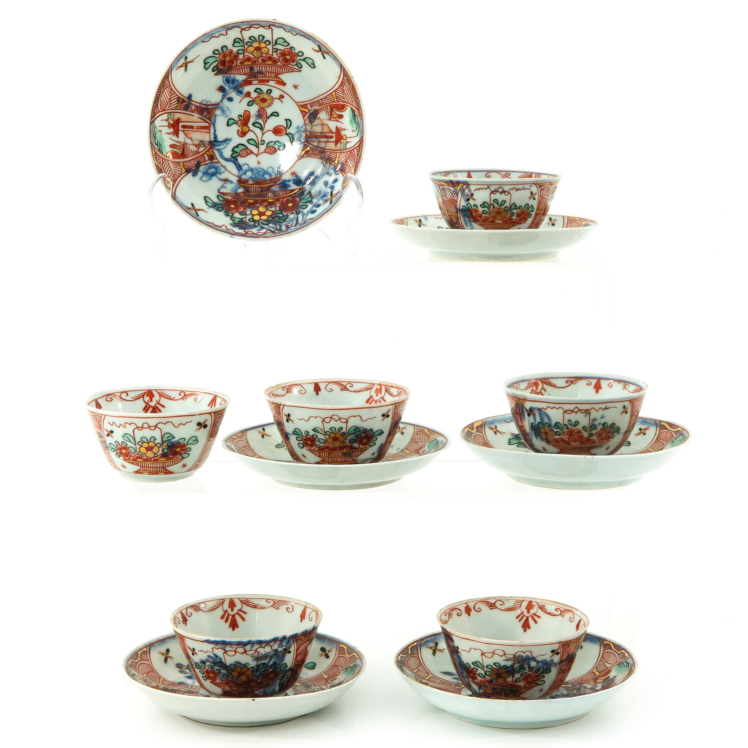 A Series of 6 Cups and Saucers