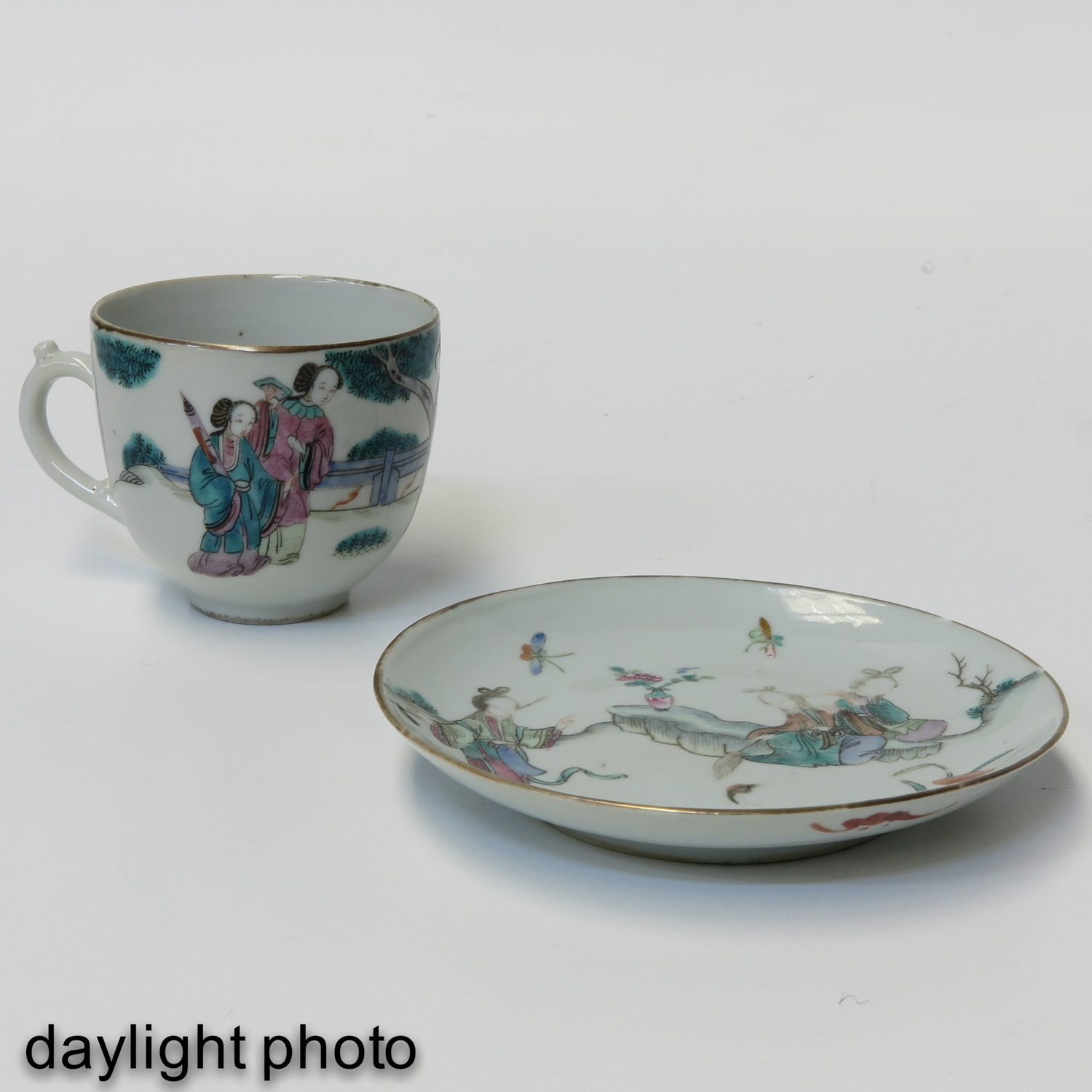 A Pair of Famille Rose Cups and Saucers - Image 9 of 10