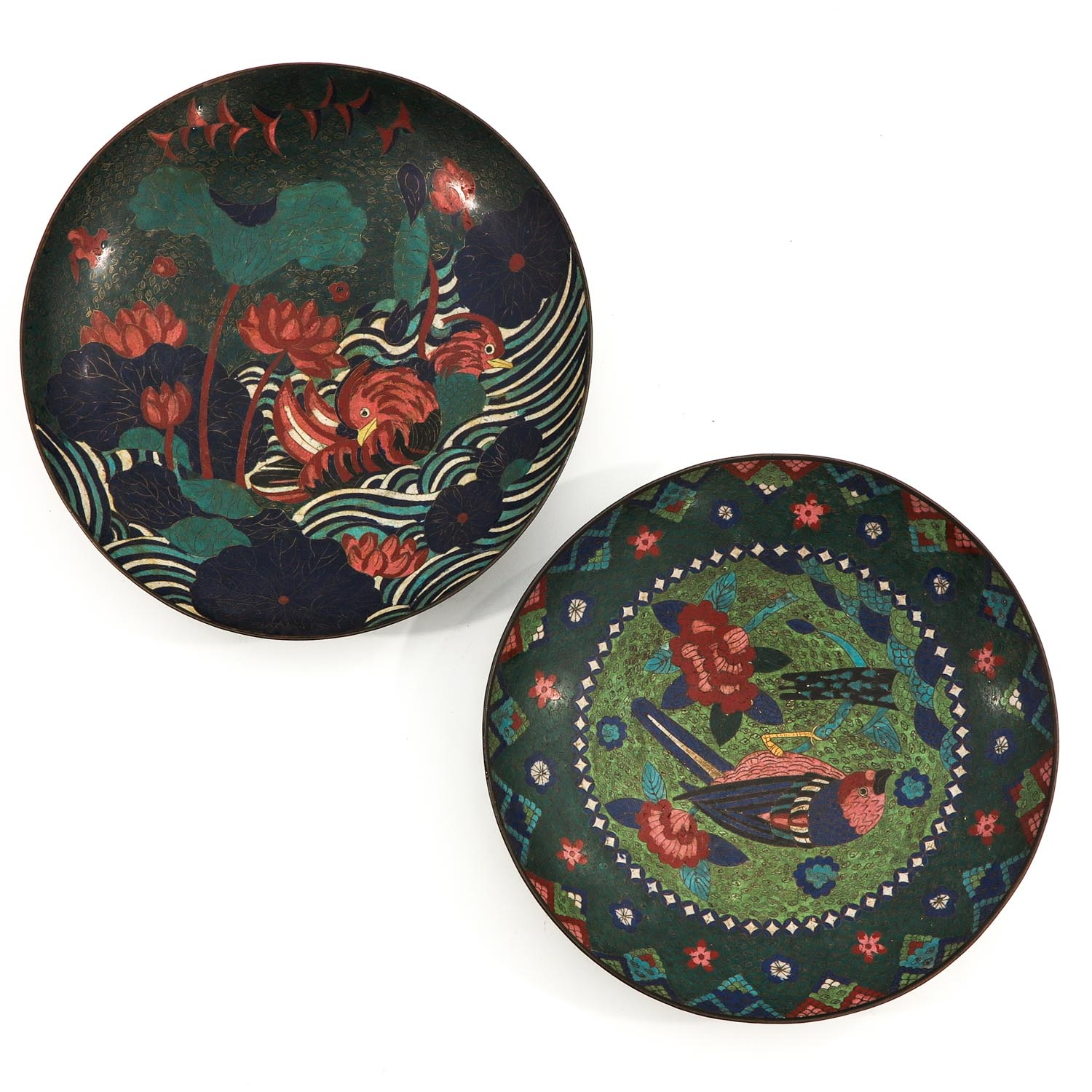 A Pair of Cloisonne Chargers