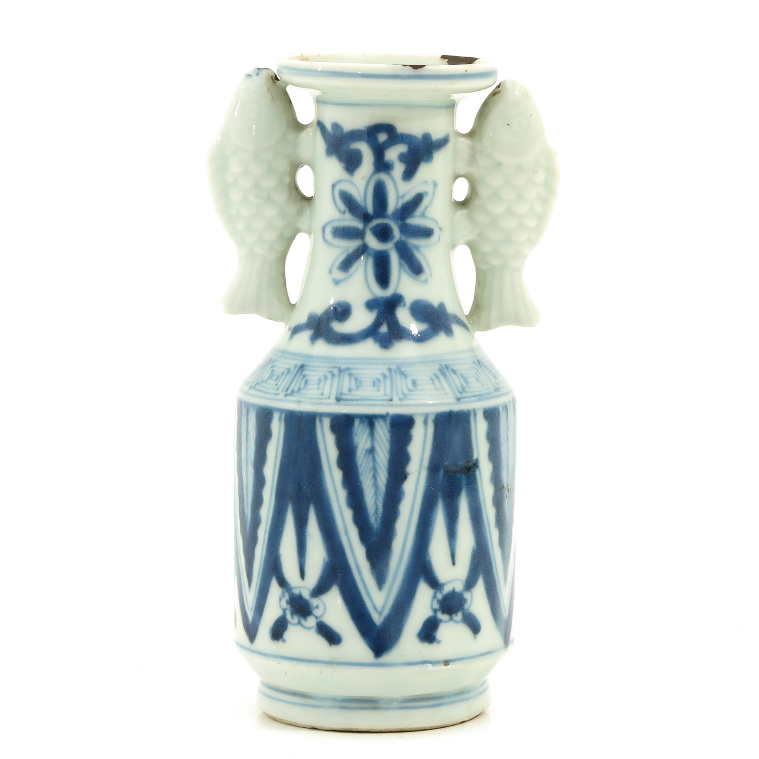 A Blue and White Twin Fish Vase
