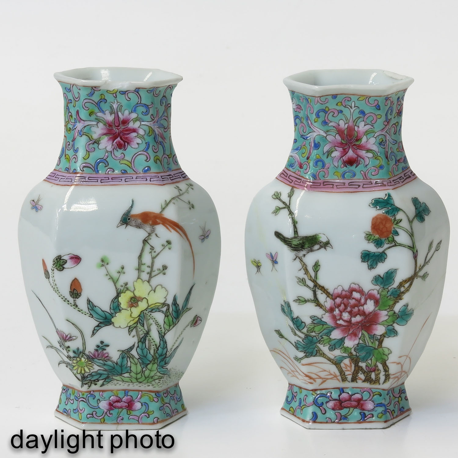 A Pair of Famille Rose Vases - Image 7 of 9