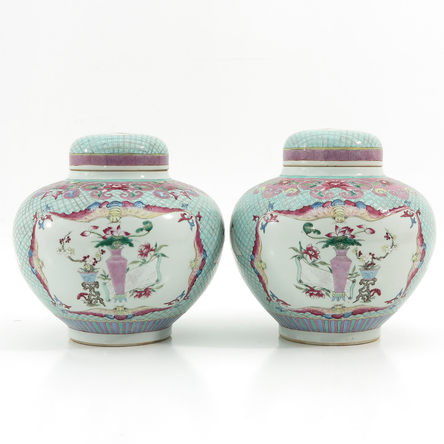 A Pair of Famille Rose Ginger Jars - Image 3 of 10