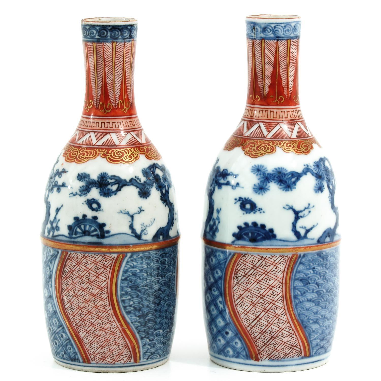 A Pair of Imari Bottles